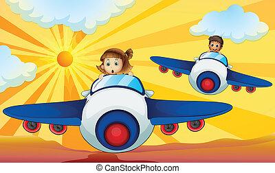 Kids driving aeroplane - illustration of kids driving an...