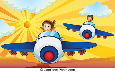 Kids driving aeroplane - illustration of kids driving an...