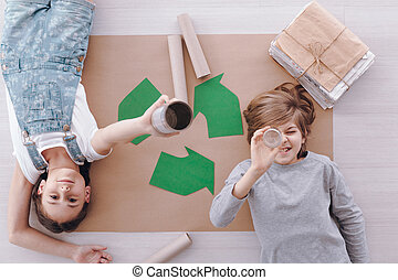 Kids during environmental protection classes