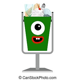 Kids e-waiste monster face can