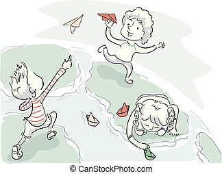 Kids Earth Paper Boat Plane Play Illustration