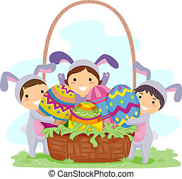 Kids Easter Eggs - Illustration of Kids Carrying Large...