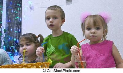 kids eat - Children eat boy and girl family breakfast...