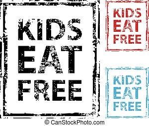 Kids Eat Free grunge stamp