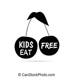 kids eat free on cherry in black color illustration
