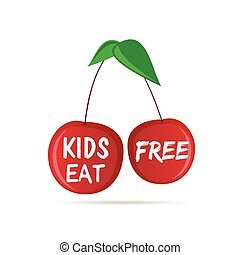 kids eat free on cherry in red color illustration