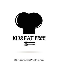 kids eat free on cooking hat in black and white illustration