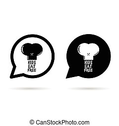 kids eat free on hat in speech bubble illustration