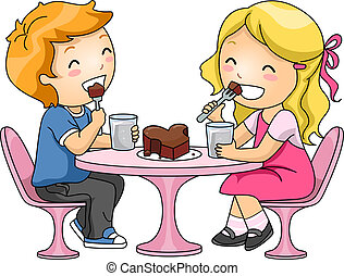 Kids Eating Chocolate Cake - Illustration of Kids Sharing a...