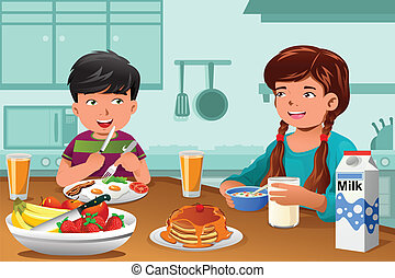 Kids eating healthy breakfast - A vector illustration of...