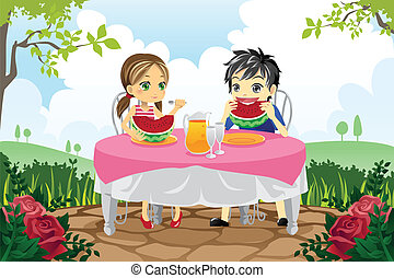 Kids eating watermelon in a park - A vector illustration of ...