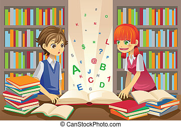 A vector illustration of kids education, kids studying in the library