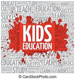 Kids Education word cloud, education concept