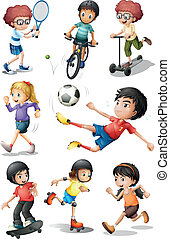 Kids engaging in different sports activities - Illustration...