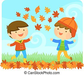 kids enjoying autumn