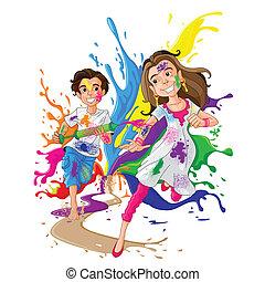 Kids enjoying Holi - easy to edit vector illustration of...