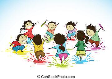 Kids enjoying Holi