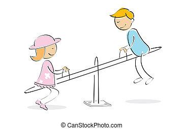 kids enjoying on seesaw - illustration of kids taking ride...