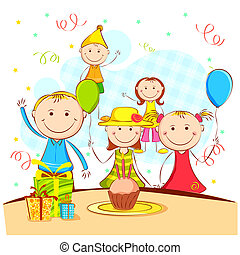 illustration of kids celebrating party with cake and birthday cap