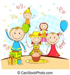Kids Enjoying Party - illustration of kids celebrating party...