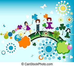 springtime - kids enjoying springtime