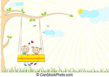 illustration of kids enjoying swing ride in park