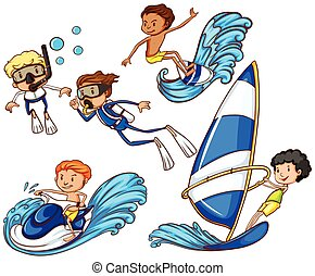 Coloured drawing of the kids enjoying the different watersports on a white background
