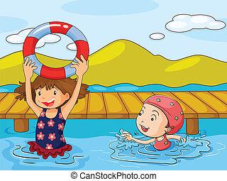Kids enjoying the refreshing water