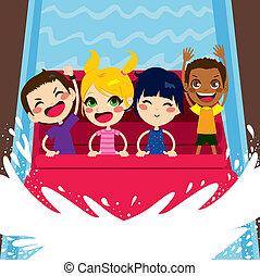 Kids Enjoying Water Boat Ride