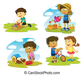 kids - illustration of kids on a white background