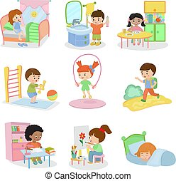 Kids everyday activities vector set children daily activity...