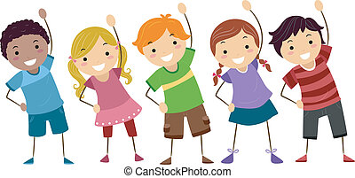 Illustration of Kids Exercising