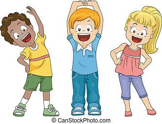 Kids Exercise - Illustration of Kids Exercising