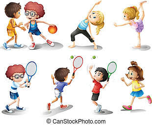 Kids exercising and playing different sports - Illustration...