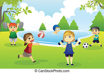 A vector illustration of kids exercising in the park