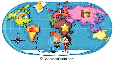 Kids exploring the world