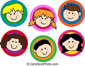 Kids face collection - Fun collection of friendly smiling...