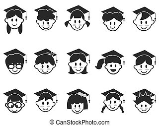 kids face with graduation cap icons