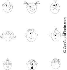kids faces sketch