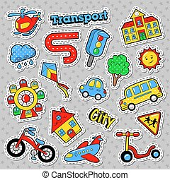 Kids Fashion Badges, Patches, Stickers. Education City Transport with Bicycle, Car and Bus. Vector Doodle
