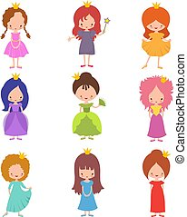 Kids fashion show characters. Little princesses girls vector set