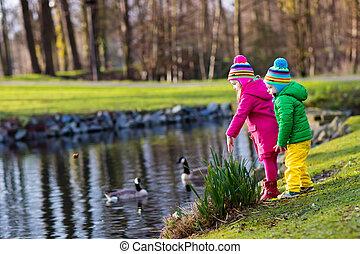 Kids feeding ducks in autumn park