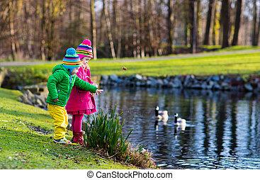 Kids feeding ducks in autumn park - Little girl and boy...