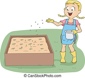 Kids Fertilizng Plants - Illustration of a Girl Fertilizing...