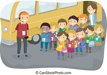Kids Field Trip - Illustration of a Man Giving Instructions...