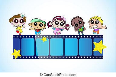 Kids Film Festival - illustration of kids with film stripe...