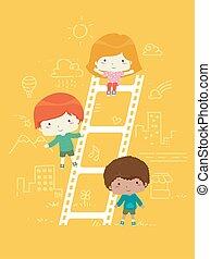 Kids Film Ladder Illustration