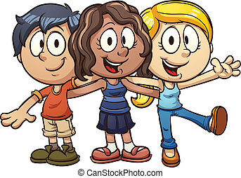 Kids firends - Cute cartoon kids. Vector clip art...