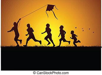 Kids flying a kite