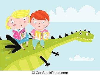 Kids Flying Dragon Reading Books